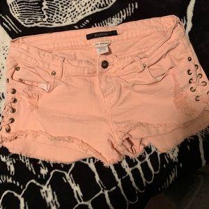 Peach billabong curt off jean shorts